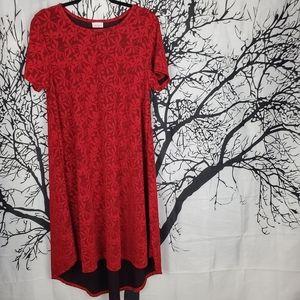 LuLaRoe Carly Dress Red Dressy Holiday Dress Large